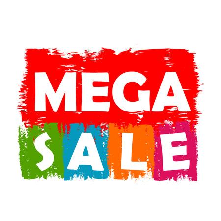megaverkoop getrokken label - tekst in de kleuren rood, groen, blauw, oranje en paars banner, business shopping concept