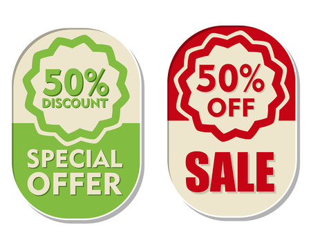 50 percent off discount, sale and special offer text banners, two elliptic flat design labels, business shopping concept