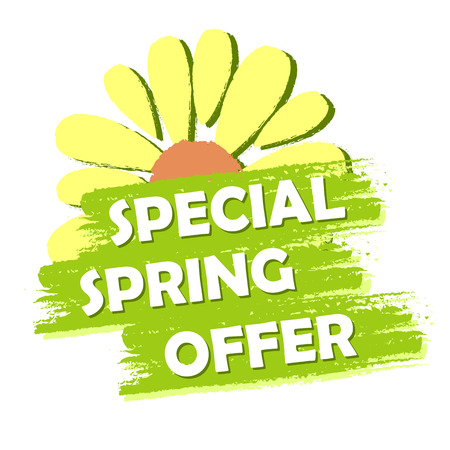 special spring sale banner - text and flower symbol in green drawn label, business shopping seasonal concept
