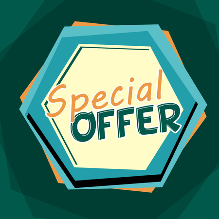 selling off: special offer banner - text in blue and orange cartoon drawn label, business shopping concept