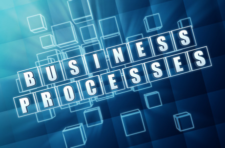 fulfil: business processes - text in 3d blue glass cubes with white letters, business workflow concept Stock Photo
