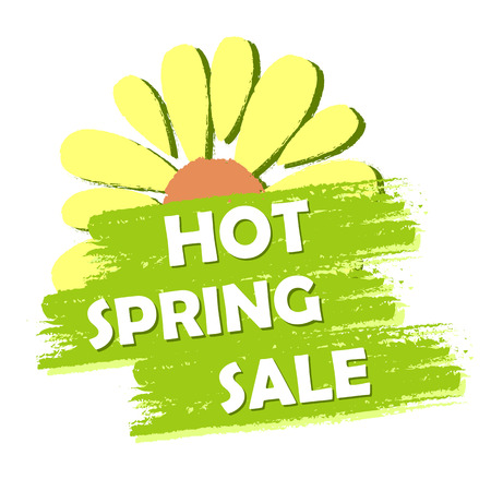 selling off: hot spring sale banner - text and flower symbol in green drawn label, business shopping seasonal concept