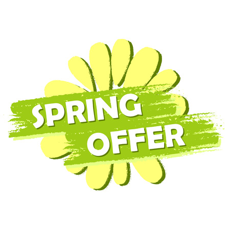 selling off: spring offer banner - text and flower symbol in green drawn label, business shopping seasonal concept
