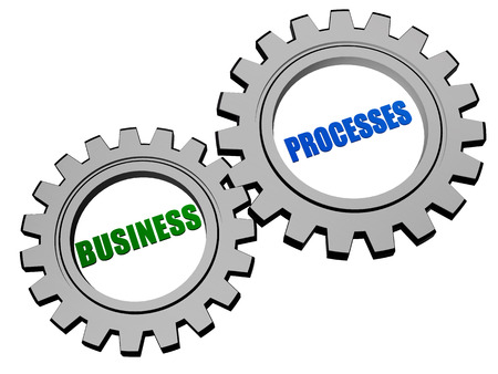 fulfil: business processes - text in 3d silver grey metal gear wheels, business workflow concept words Stock Photo