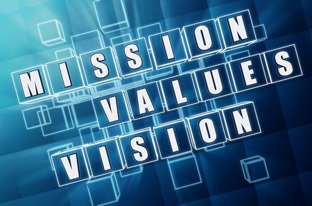 valores morales: misión, valores, visión - - texto en cubos de cristal azul 3d con letras blancas, negocios riquezas culturales palabras de concepto Foto de archivo