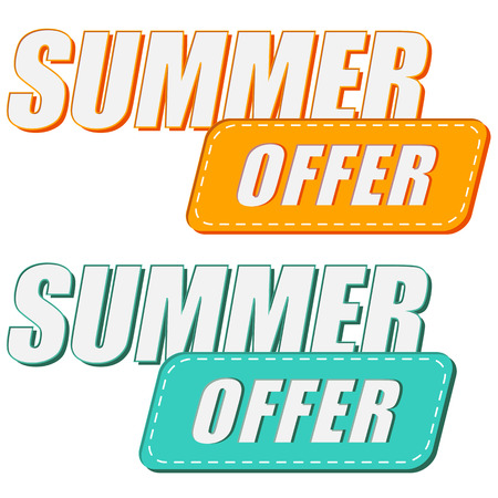 abatement: summer offer, two colors labels, flat design, business seasonal shopping concept Stock Photo