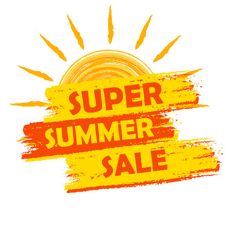 super summer sale banner - text in yellow and orange drawn label with sun symbol, business seasonal shopping concept