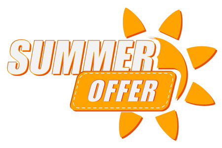 summer offer with sun sign, flat design label, business seasonal shopping concept