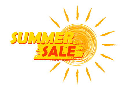 sale: summer sale banner - text in yellow and orange drawn label with sun symbol, business seasonal shopping concept