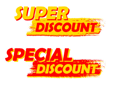 selling off: super and special discount banners - text in yellow and red drawn labels, business shopping concept