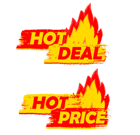 hot deal and price on fire banners - text in yellow and red drawn labels with flames signs, business shopping concept Imagens