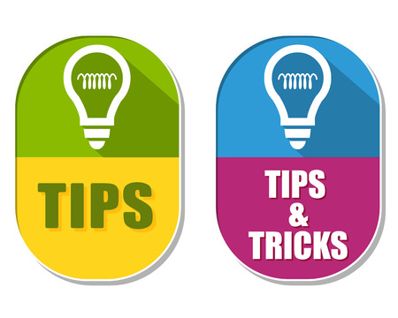 tip up: tips and tricks with bulb symbols, two elliptic flat design labels with icons, business support concept signs