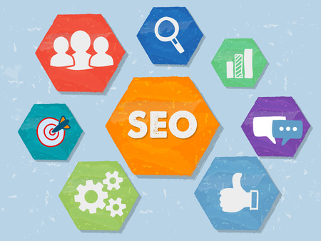 meta data: SEO and internet signs - white symbols in colorful grunge flat design hexagons, business technology concept icons