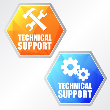 uphold: technical support with tools sign and gear wheels - two colors hexagons web icons with symbols, flat design, business service concept Stock Photo
