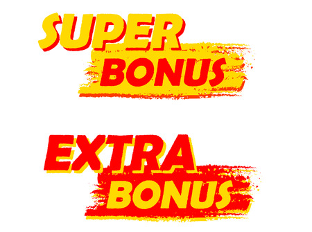 bonus: super and extra bonus banners - text in yellow and red drawn labels, business shopping concept