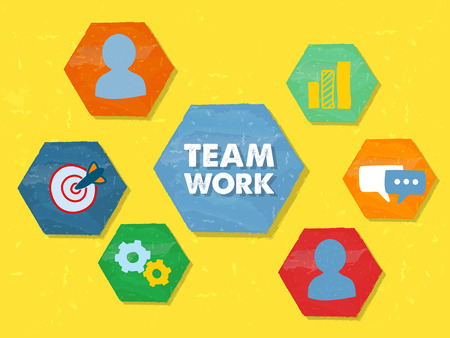 proficient: teamwork and symbols and person signs in hexagons over yellow background, grunge flat design, business team building concept
