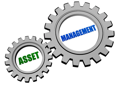 asset management - text in 3d silver grey metal gear wheels, business financial operation concept Stock Photo