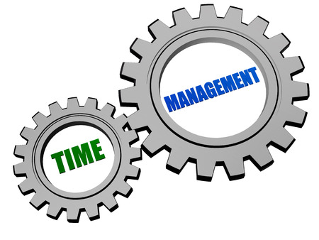 moneymaker: time management - text in 3d silver grey metal gear wheels, business organizing concept Stock Photo