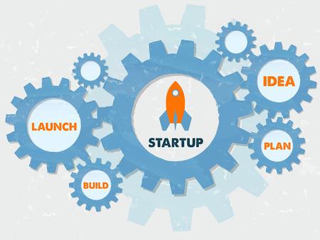 start up, launch, build, idea, plan - business development concept words - orange text in blue grunge flat design gear wheels