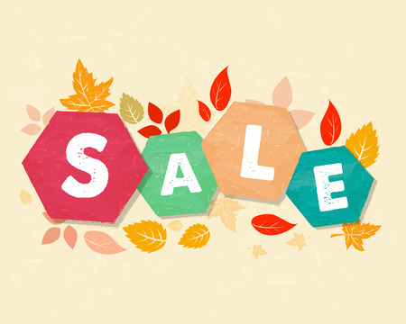 autumn sale with fall leaves, business seasonal shopping concept in colorful grunge drawn flat design hexagons labels Stock Photo