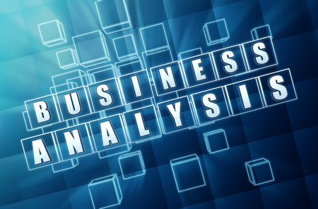 business analysis - text in 3d blue glass cubes with white letters, business marketing exploration conceptual words Standard-Bild