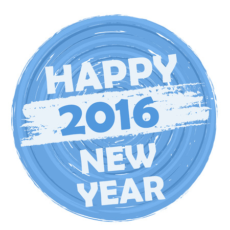 turns of the year: happy new year 2016 in circular drawn blue banner, holiday concept Stock Photo