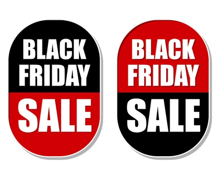 clearance sale: Black friday sale two elliptic flat design labels, business commerce shopping concept