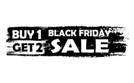 selling off: Black friday buy one get two - text in black drawn label, seasonal shopping concept