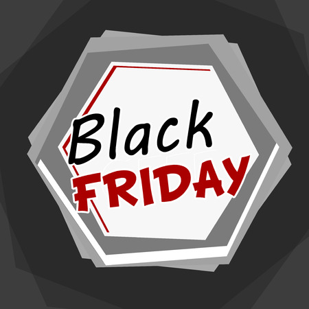 selling off: black friday sale banner - grey label with hexagons and text, business holiday concept