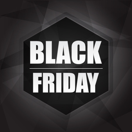 selling off: black friday sale banner - black label with hexagon and text, business holiday concept