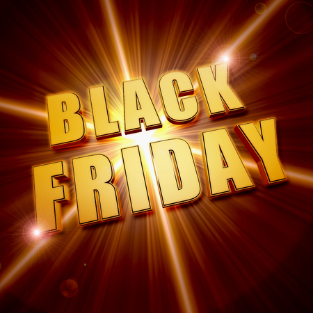 shining star: black friday - text in 3d golden letters and shining star, business holiday concept banner Stock Photo
