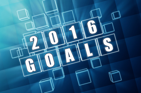 fulfil: new year 2016 goals - text in 3d blue glass boxes with white figures, business holiday concept