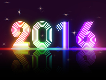 3d rainbow: year 2016 in 3d rainbow colored neon shining figures, disco number, holiday concept