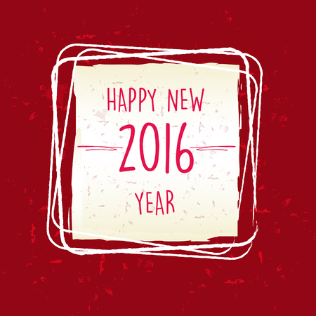 twelfth night: happy new year 2016 in frame over red old paper background, holiday seasonal concept Stock Photo