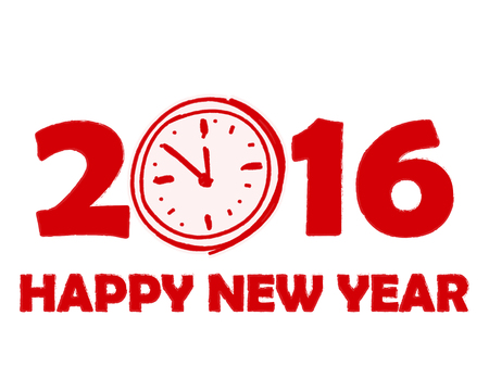 twelfth night: happy new year 2016 with clock sign in red drawn banner, holiday concept