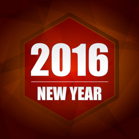 newcomer: happy new year 2016 banner - red label with hexagon and text, holiday seasonal concept