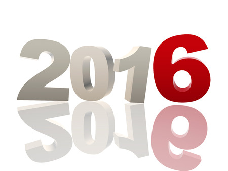 turns of the year: new year 2016 of 3d color ciphers with reflection over white background, holiday concept Stock Photo