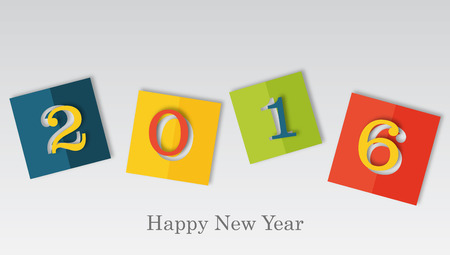turns of the year: happy new year 2016 in colored piece of paper with cut off figures, holiday seasonal concept Stock Photo