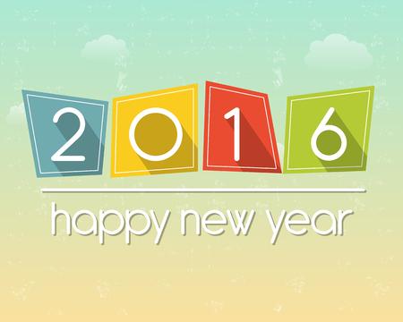 happy new year: glückliches neues Jahr 2016 in farbigen flachen Tabletten über bewölkten Himmel Hintergrund, Saisonbedingtes Konzept