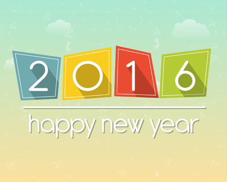 new years eve party: happy new year 2016 in flat colored tablets over cloudy sky background, holiday seasonal concept