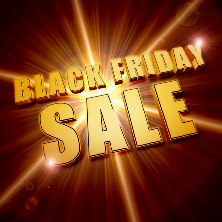 shining star: black friday sale - text in 3d golden letters and shining star, business holiday concept banner Stock Photo