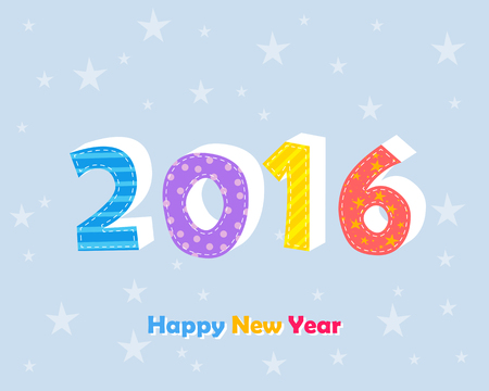 twelfth night: happy new year 2016 in colored ciphers and text with stars over blue background, holiday seasonal concept