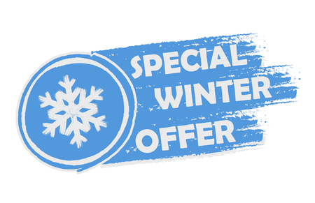 seasonal symbol: special winter offer with snowflake sign banner - text and symbol in drawn label, business seasonal shopping concept