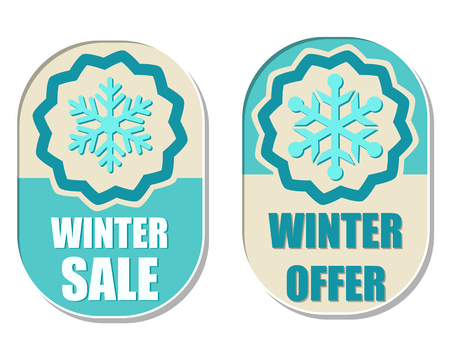 elliptic: winter sale and offer with snowflake sign banners, two elliptic flat design labels with symbol, business seasonal shopping concept