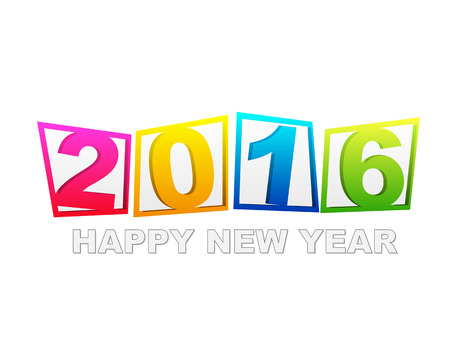 twelfth night: happy new year 2016 in flat colored tablets isolated over white background, holiday seasonal concept