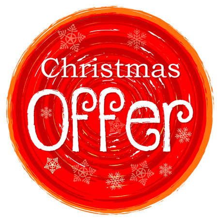 business sign: christmas offer - text and snowflakes in circular drawn red banner, business holiday concept
