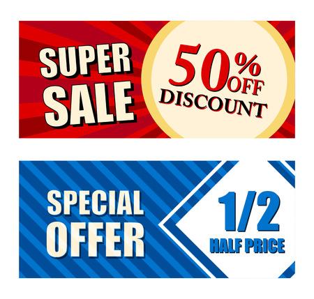 50 procent korting op korting super verkoop en aanbieding voor de halve prijs tekst banners, twee vouchers labels, handel shopping concept