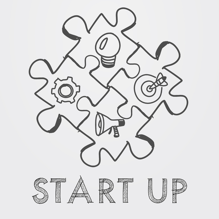 action fund: start up and business concept signs in puzzle pieces - text and idea, goal, advertise symbols in black white hand-drawn style, business building concept