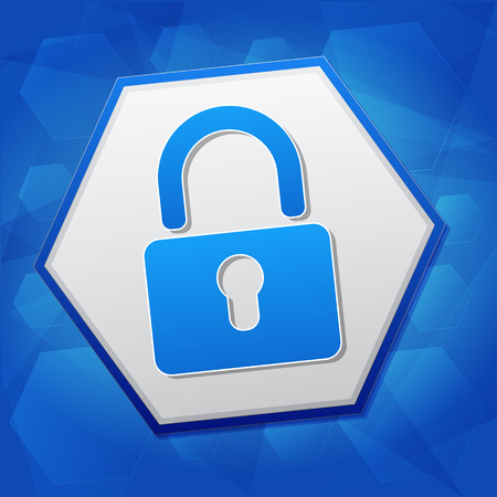 security symbol: padlock sign over blue background with flat design hexagons, technical security concept symbol