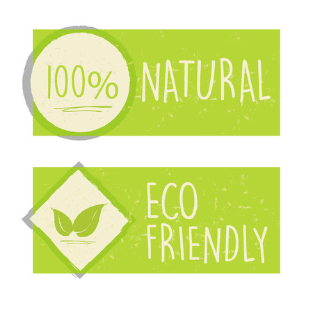 original ecological: 100 percent natural and eco friendly with leaf sign in green banners, bio ecology concept